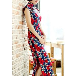 Floral vintage cheongsam qipao dress